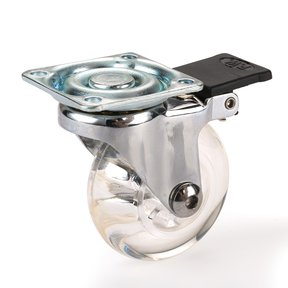"""2"""" Skate Wheel Caster Locking with Rounded Translucent Wheel"""