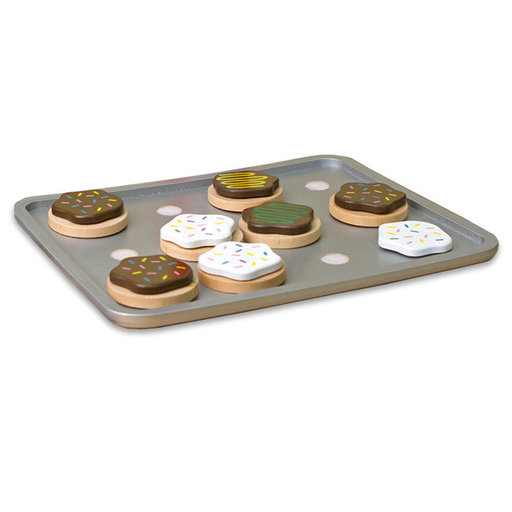 View a Larger Image of Slice-and-Bake Wooden Cookie Play Food Set, Pretend Play, Materials, 28 Pieces,