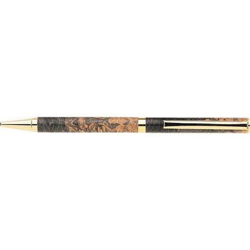 View a Larger Image of 7mm Slim Style Solid Clip Ballpoint Pen Kit - Cobalt Gold