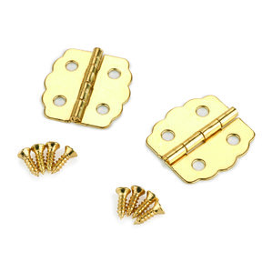 Small Box Hinge Brass Plated 23 mm x 22 mm Pair