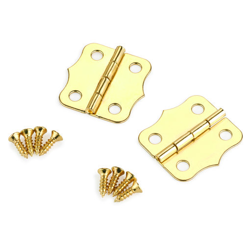 View a Larger Image of Small Box Hinge Brass Plated 24 mm x 24 mm Pair