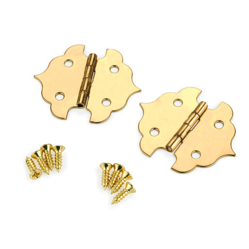 View a Larger Image of Small Box Hinge Brass Plated 34 mm x 29 mm Pair