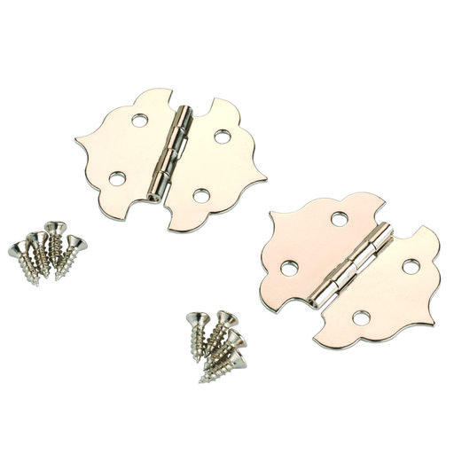 View a Larger Image of Small Box Hinge Nickel Plated 34 mm x 29 mm Pair