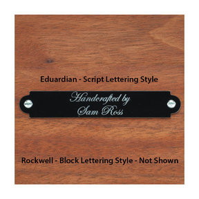 Small Laser Engravable Name Plate Black with Silver Lettering