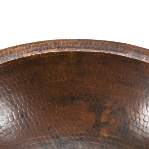 View a Larger Image of Small Oval Under Counter Hammered Copper Sink