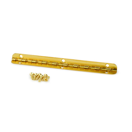 View a Larger Image of Small Piano Stop Hinge Brass Plated 96 mm x 7 mm