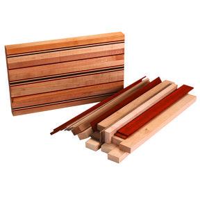 """1-1/2"""" x 9-1/4"""" x 16"""" Maple, Padauk & Walnut Smoke House Cutting Board Kit"""
