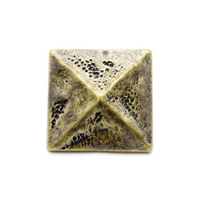 """Square 1-3/8"""" Pyramid Clavo Decorative Nail, 4-Pack, Brass Oxide"""