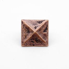 """Square 1-3/8"""" Pyramid Clavo Decorative Nail, 4-Pack, Copper Oxide"""