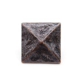 """Square 1-3/8"""" Pyramid Clavo Decorative Nail, 4-Pack, Oil Rubbed Bronze"""