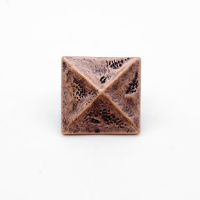"""Square 1-3/8"""" Pyramid Clavo Decorative Nail, 8-Pack, Copper Oxide"""
