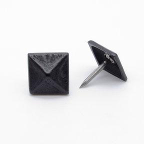 "Square 3/4"" Pyramid Clavo Decorative Nail, 8-Pack, Black Oxide"
