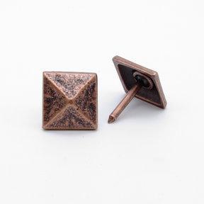 """Square 3/4"""" Pyramid Clavo Decorative Nail, 8-Pack, Copper Oxide"""