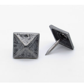 """Square 3/4"""" Pyramid Clavo Decorative Nail, 8-Pack, Pewter Oxide"""