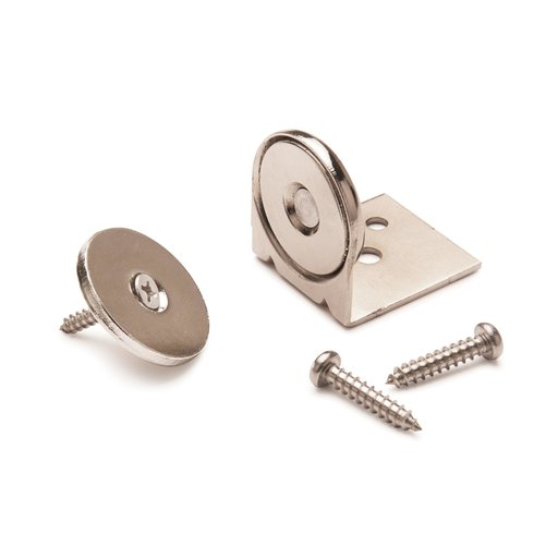 """View a Larger Image of Stainless Steel Magnetic Latch with Bracket 1"""" Dia 40 lbs Holding Strength"""