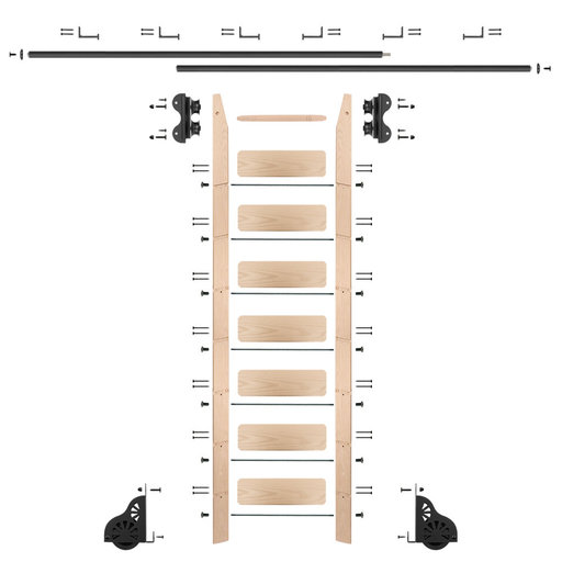 View a Larger Image of Standard Rolling 8-Foot Maple Ladder Kit with 12-Foot Rail and Horizontal Brackets, Black
