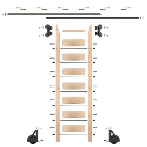 View a Larger Image of Standard Rolling 8-Foot Maple Ladder Kit with 12-Foot Rail and Horizontal Brackets, Bronze