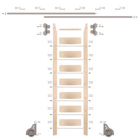 Standard Rolling 8-Foot Maple Ladder Kit with 12-Foot Rail and Horizontal Brackets, Satin Nickel