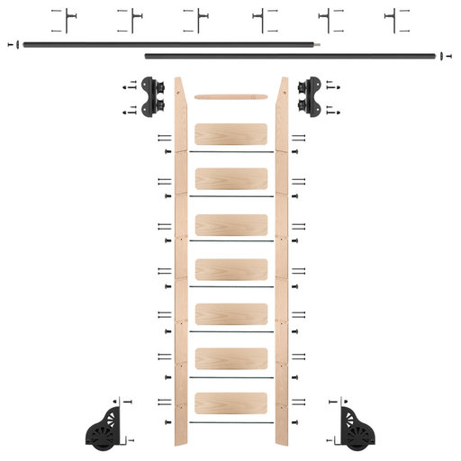 View a Larger Image of Standard Rolling 8-Foot Maple Ladder Kit with 12-Foot Rail and Vertical Brackets, Black