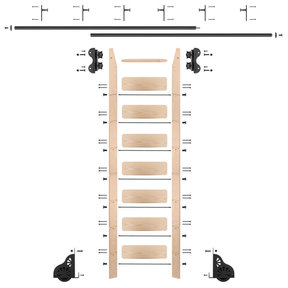 Standard Rolling 8-Foot Maple Ladder Kit with 12-Foot Rail and Vertical Brackets, Black