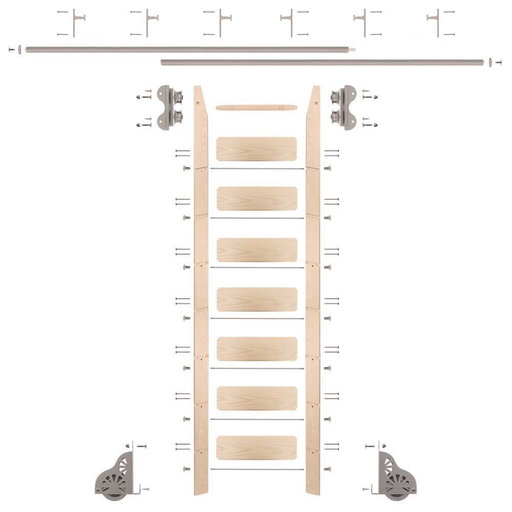 View a Larger Image of Standard Rolling 8-Foot Maple Ladder Kit with 12-Foot Rail and Vertical Brackets, Satin Nickel