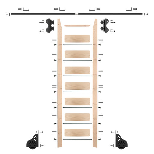 View a Larger Image of Standard Rolling 8-Foot Maple Ladder Kit with 8-Foot Rail and Horizontal Brackets, Black