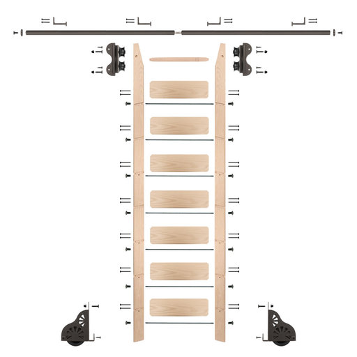 View a Larger Image of Standard Rolling 8-Foot Maple Ladder Kit with 8-Foot Rail and Horizontal Brackets, Bronze