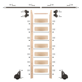 Standard Rolling 8-Foot Maple Ladder Kit with 8-Foot Rail and Horizontal Brackets, Bronze