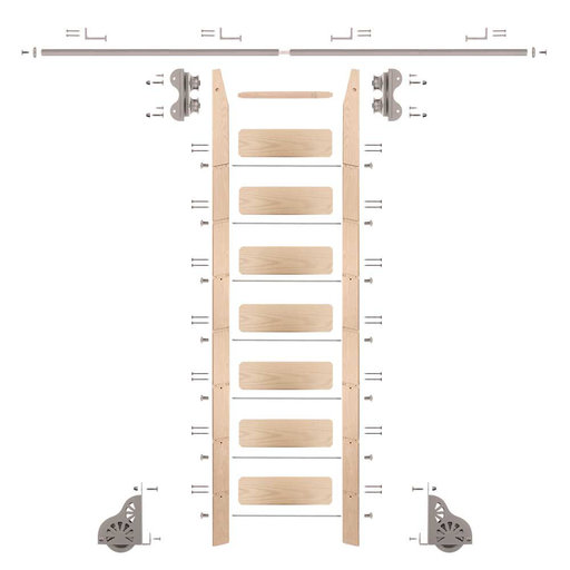 View a Larger Image of Standard Rolling 8-Foot Maple Ladder Kit with 8-Foot Rail and Horizontal Brackets, Satin Nickel