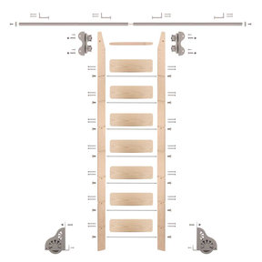 Standard Rolling 8-Foot Maple Ladder Kit with 8-Foot Rail and Horizontal Brackets, Satin Nickel