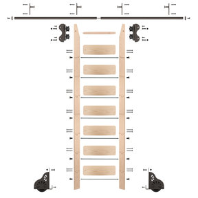 Standard Rolling 8-Foot Maple Ladder Kit with 8-Foot Rail and Vertical Brackets, Bronze