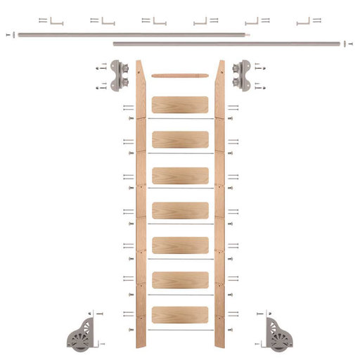 View a Larger Image of Standard Rolling 8-Foot Red Oak Ladder Kit with 12-Foot Rail and Horizontal Brackets, Satin Nickel