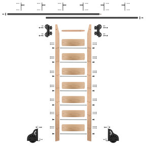 Standard Rolling 8-Foot Red Oak Ladder Kit with 12-Foot Rail and Vertical Brackets, Black