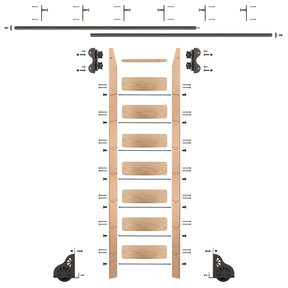 Standard Rolling 8-Foot Red Oak Ladder Kit with 12-Foot Rail and Vertical Brackets, Bronze