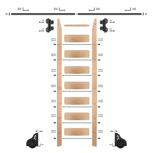 View a Larger Image of Standard Rolling 8-Foot Red Oak Ladder Kit with 8-Foot Rail and Horizontal Brackets, Black