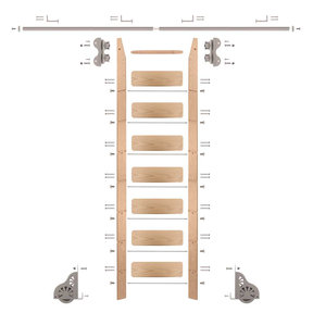 Standard Rolling 8-Foot Red Oak Ladder Kit with 8-Foot Rail and Horizontal Brackets, Satin Nickel