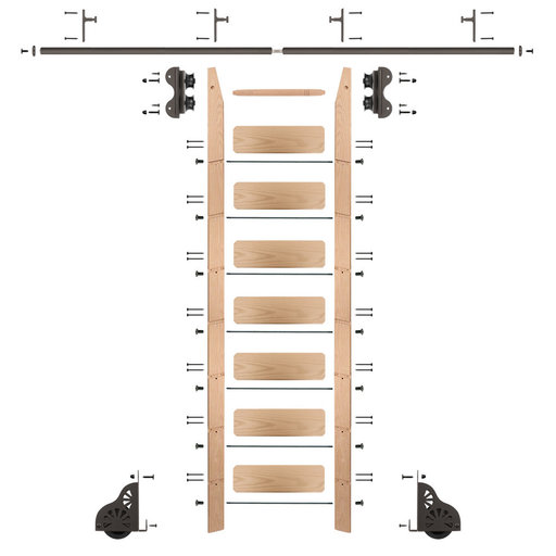 View a Larger Image of Standard Rolling 8-Foot Red Oak Ladder Kit with 8-Foot Rail and Vertical Brackets, Bronze