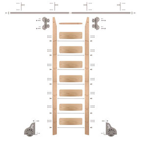 Standard Rolling 8-Foot Red Oak Ladder Kit with 8-Foot Rail and Vertical Brackets, Satin Nickel