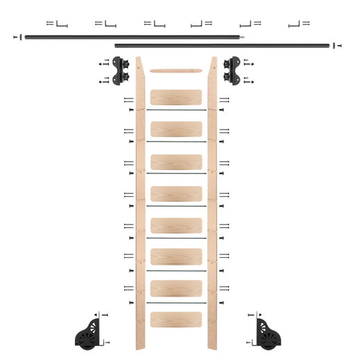 View a Larger Image of Standard Rolling 9-Foot Maple Ladder Kit with 12-Foot Rail and Horizontal Brackets, Black