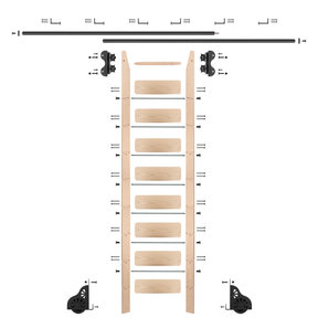 Standard Rolling 9-Foot Maple Ladder Kit with 12-Foot Rail and Horizontal Brackets, Black