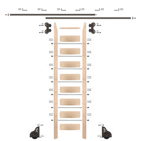 Standard Rolling 9-Foot Maple Ladder Kit with 12-Foot Rail and Horizontal Brackets, Bronze