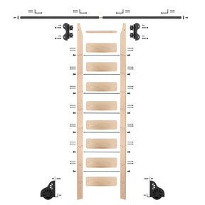 Standard Rolling 9-Foot Maple Ladder Kit with 8-Foot Rail and Horizontal Brackets, Black