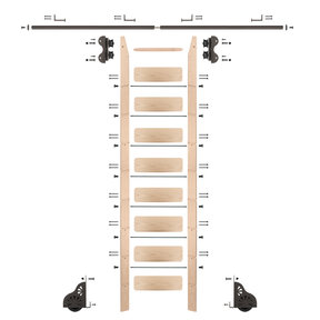 Standard Rolling 9-Foot Maple Ladder Kit with 8-Foot Rail and Horizontal Brackets, Bronze
