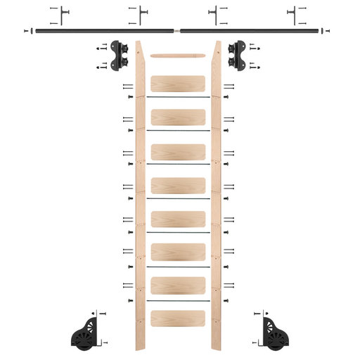 View a Larger Image of Standard Rolling 9-Foot Maple Ladder Kit with 8-Foot Rail and Vertical Brackets, Black