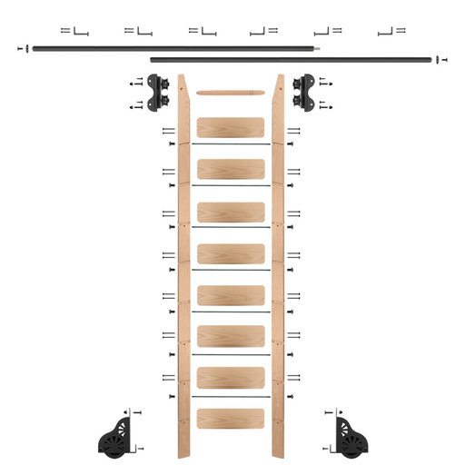 View a Larger Image of Standard Rolling 9-Foot Red Oak Ladder Kit with 12-Foot Rail and Horizontal Brackets, Black
