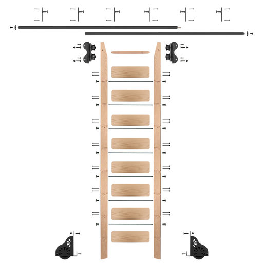 View a Larger Image of Standard Rolling 9-Foot Red Oak Ladder Kit with 12-Foot Rail and Vertical Brackets, Black