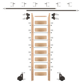 Standard Rolling 9-Foot Red Oak Ladder Kit with 12-Foot Rail and Vertical Brackets, Bronze