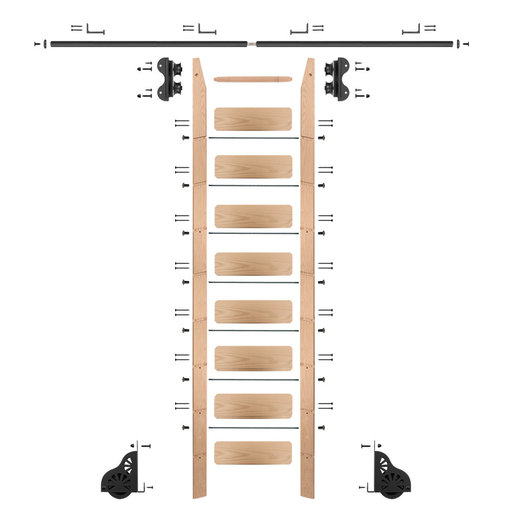 View a Larger Image of Standard Rolling 9-Foot Red Oak Ladder Kit with 8-Foot Rail and Horizontal Brackets, Black