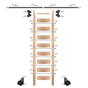 Standard Rolling 9-Foot Red Oak Ladder Kit with 8-Foot Rail and Horizontal Brackets, Black