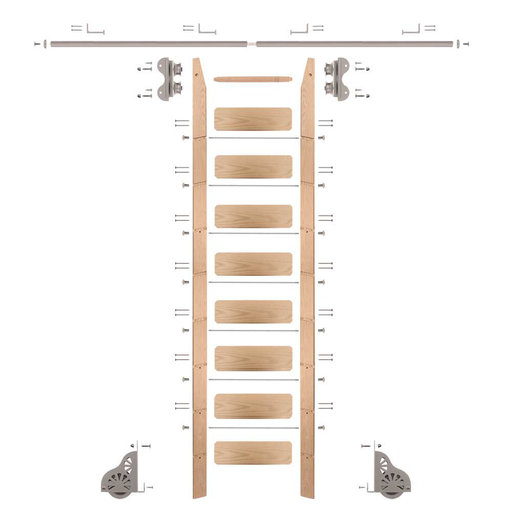View a Larger Image of Standard Rolling 9-Foot Red Oak Ladder Kit with 8-Foot Rail and Horizontal Brackets, Satin Nickel